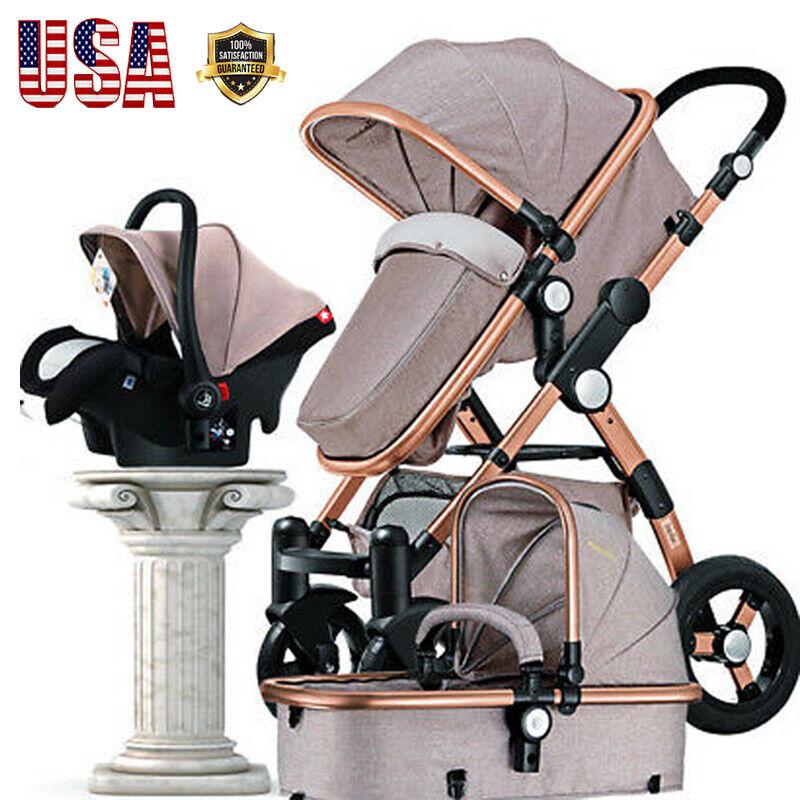 Luxury 3 in1 Baby Stroller Folding Carriage Newborn High Vie