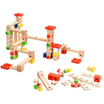 bahn-Bausatz aus Holz, 50-teilig (Kugelbahn Komplett-Set) (Kugelbahn Set)