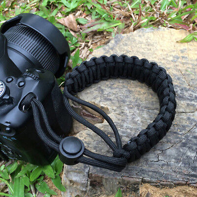 Black Braided Adjustable 550 Wrist Bracelet Strap Hand Grip Camera DSLR