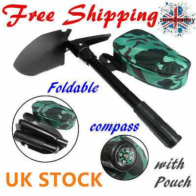 Army Military Folding Spade Shovel Pick Axe Camping  Compass Emergency Gear Tool