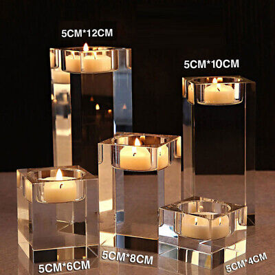 1/3pcs Modern Crystal Clear Glass Votive Candle Holder Tea Light Home Decor -