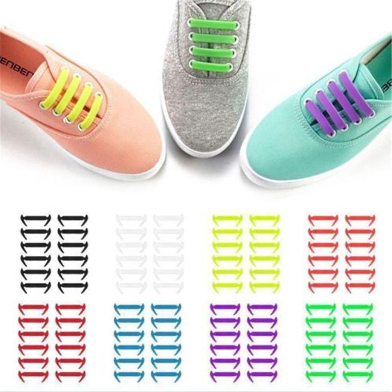 16PCS New Silicone No Tie Shoelaces Elastic  Shoe Laces lazy Accessories