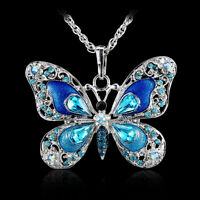2015 Rhinestone & Crystal Blue Butterfly Pendant Necklace