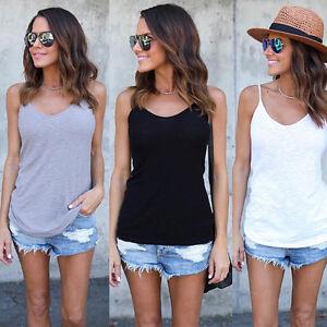 SEXY-S-2x-Basico-DETALLE-verano-tirante-fino-de-camiseta-Liso-Camisola