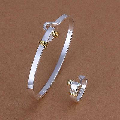 925Sterling Solid Silver Fashion Gold Easy Bracelet Rings Jewelry Sets S279 - Gold Solid Jewelry Set