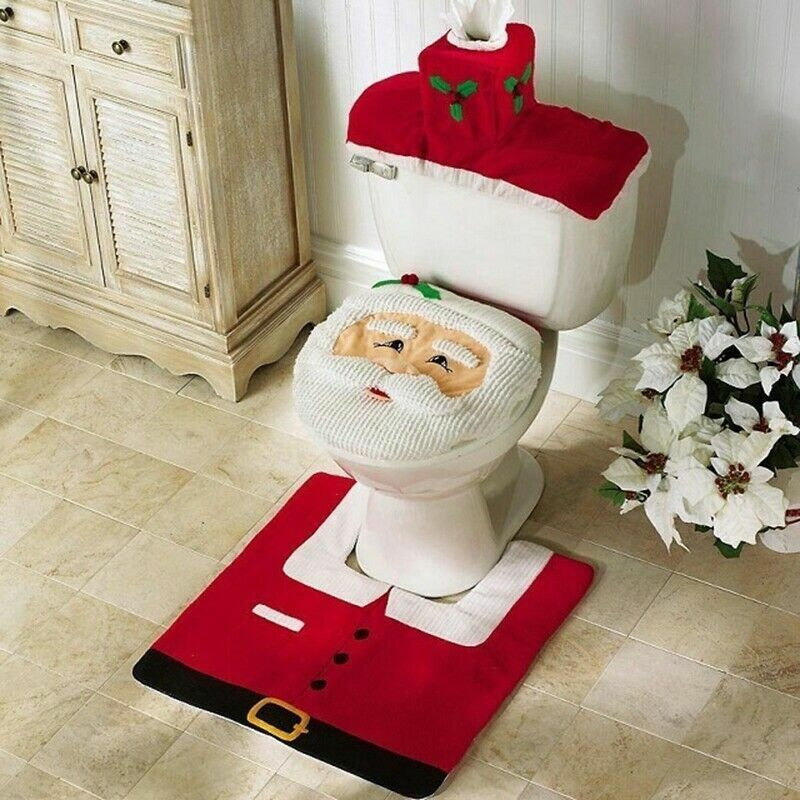 Merry Christmas Toilet Seat  Cover Santa Claus Bathroom Mat Christmas Home Deco