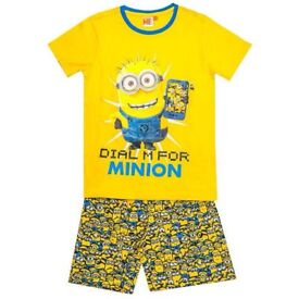 BNWT EX STORE BOYS DESPICABLE ME YELLOW PYJAMA SHORT SET
