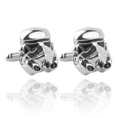 STORM TROOPER STAR WARS CUFFLINKS SILVER PLATED +1ST CLASS POST & FREE GIFT BOX