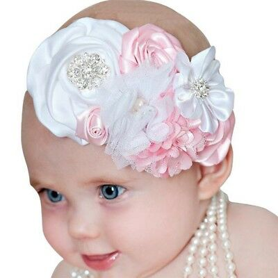 Baby Kids Girl Infant Newborn Hair Band Rose Flower Rhinestone Headband Headwear