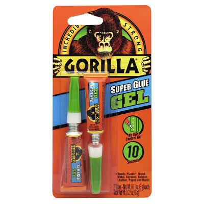 Gorilla Super Glue Gel Twin Pack Glue 2 Tubes 0.11oz Each 2-pack New