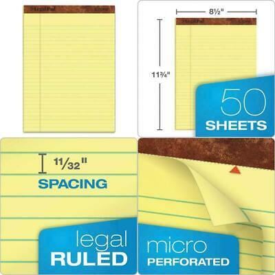 Tops The Legal Pad Writing Pads 8-12 X 11-34 Canary Paper Legal Rule 50 Sh