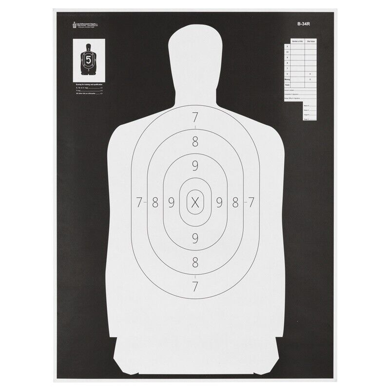 Action Target Reverse Qualification Target 25 Yd Reduction Of B-27  100 Per Box