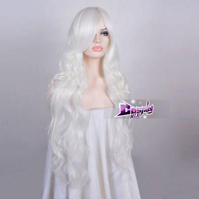 85CM Lolita White Long Curly Fancy Women Hair Cosplay Wig Heat Resistant+Wig Cap](White Hair Wig)