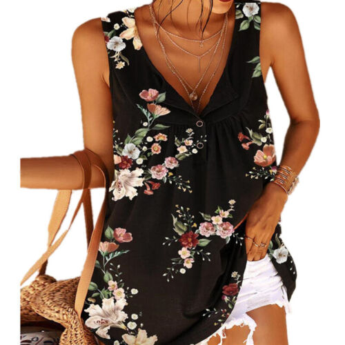 Summer Women Floral Printed Breathable V-neck Sleeveless Loose Tank Tops T-shirt Clothing, Shoes & Accessories