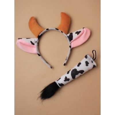 Cow Costume Animal Fancy Dress Ears and Tail World Book Day Costumes - Cow Costume Ears