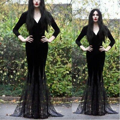 Halloween Dress Women (Women Halloween Cosplay Witch Slim Gothic V-neck Bress Long Sleeve Maxi)