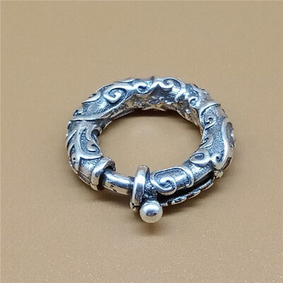 (Sterling Silver Oxidized Swirl Spiral Spring Ring Clasp for Bracelet Necklace)