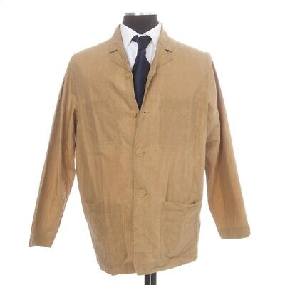 Casey Casey Made in France Khaki Tan Unlined Waxed Cotton Smock Jacket Coat M NR