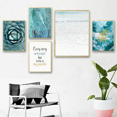 Nordic Style Ocean Feather Wall Art Canvas Poster Scandinavian Landscape Prints](Feather Wall Art)