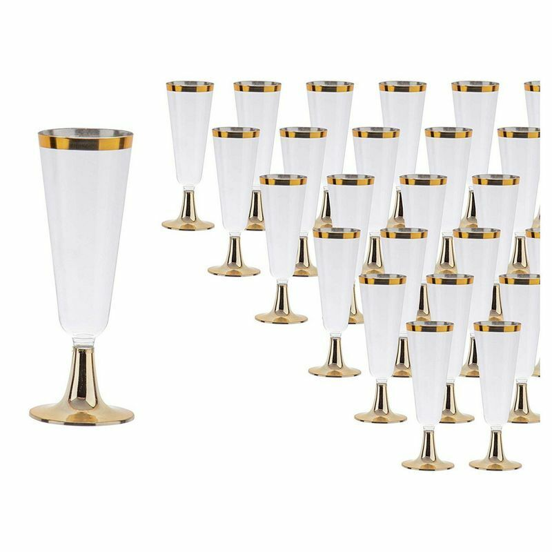 """50-Pack Clear 5oz Gold Rimmed Plastic Champagne Flutes, Party Supplies, 6.4""""Tall"""