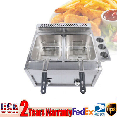 Commercial Countertop Gas Fryer Deep Fryer Propanelpg 2 Basket Stainless Steel