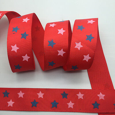 100Yards 1Inch(25mm) Printed Grosgrain Ribbon Hair Bow DIY Sewing #42
