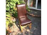 6 Brown Leather Dining Room Chairs in excellent condition