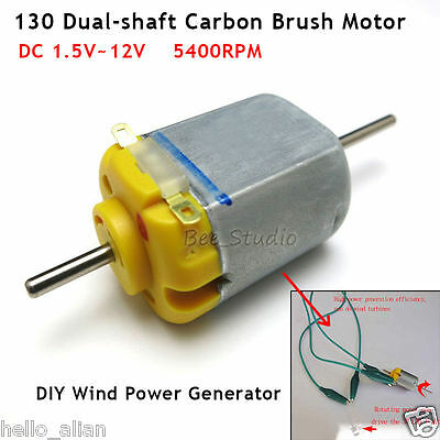 100pcs Dc 3v-12v 5400rpm Long Double Shaft Mini 130 Motor Carbon Brush Motor Diy