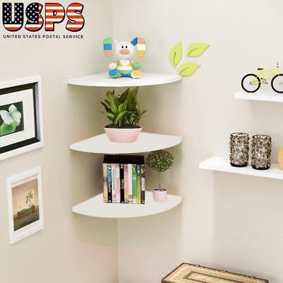 3Pcs Corner Shelf Floating Wall Shelves Mounted Storage Rack