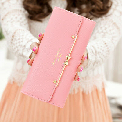 New Women Fashion Leather Clutch Cute Wallet Long Card Holder Purse Handbag Pink