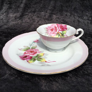 Made in Japan - Pink Rose - Tea Cup and Snack Plate