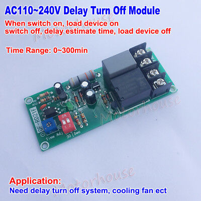 AC 220V 230V Delay Time Timer Control Relay Turn OFF Switch Module Cooling Fan