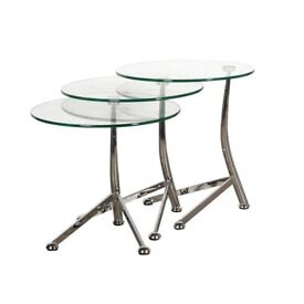 Terano contemporary Nest of 3 round glass tables / side tables