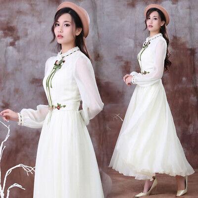 Flowers Layered Long Sleeve Ruffle Frill Collar Chiffon Ribbon Dress Skirt Fairy](Fairy Flower Dress)