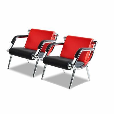 2 Pcs Office Reception Waiting Chair W Pu Leather Visitor Guest Sofa Seat Red