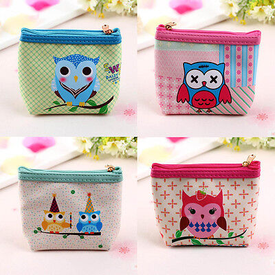 Womens Owl Wallet Card Holder Girl Coin Purse Clutch Handbag Clutch Zip Tote Bag 1