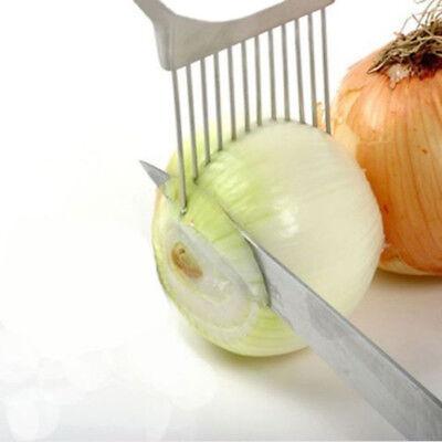 White Onion Holder Easy Slicer Cutter Slice Potato Veg Kitchen Hand Held Tool