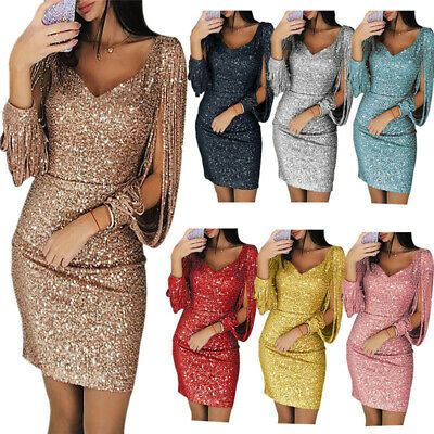 Women Sequined Long Sleeve Tassel Bodycon Club Party Cocktail Evening Mini Dress Jeweled Party Dress