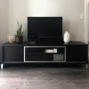 Modern TV Stand/Media Console (Black/Brown Wood)