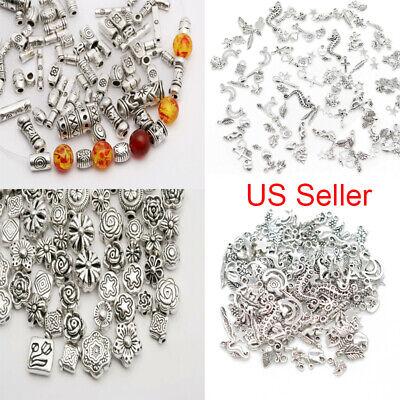 - Mixed Tibetan Silver Metal Spacer Beads Charm Bracelet Pendant Jewelry Making 2h