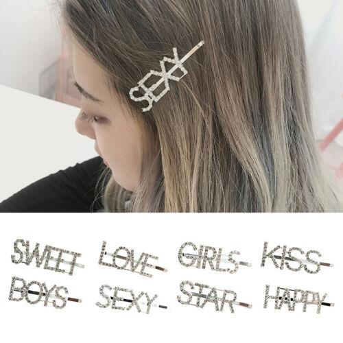 Women Girls Hair Clips Barrette Letter Word Rhinestone Cryst
