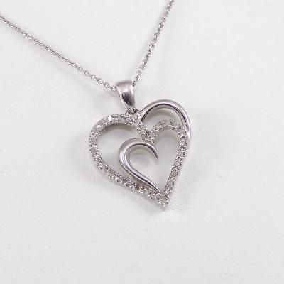 Sterling Silver Diamond Accent Double Heart Love  Pendant Necklace 18