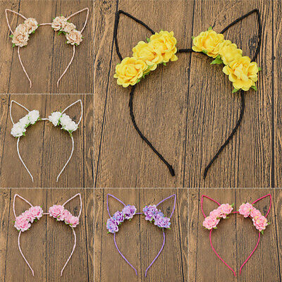 Kitty Cat Ear Flowers Headband Party Costume Accessories Hair Bands Decor Gift (Kitty Costume Accessories)