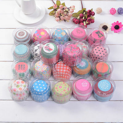 100pc/Set Random Colors Cake Baking Paper Cup Cupcake Muffin Cases Home -