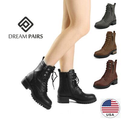 DREAM PAIRS Women Chelsea Ankle Boots Lace Up Zipper Militar
