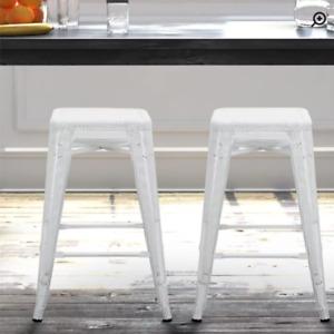 "Metal 24"" Bar stools Set of 2 White /NEW"