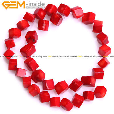 Diagonal Cube Cubic Red Coral Square Stones Beads For Jewelry Making 15