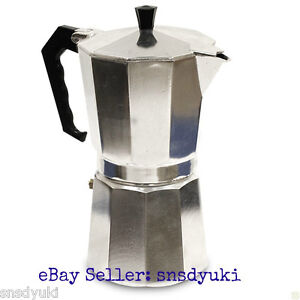 ADD ALUMINUM ESPRESSO MAKER, STOVETOP, LATTE CAPPUCCINO COFFEE POT, 6 CUPS SIZE