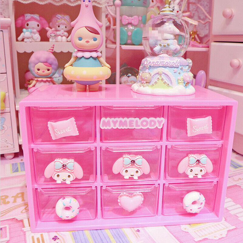 Cute My Melody Desk Jewelry Drawer Storage Organizer Case Stationery Box Gifts