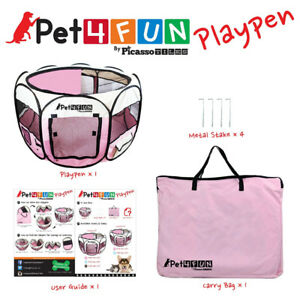 "43"" PINK Portable DOG/CAT  CRATE PLAYPEN KENNEL INDOOR  OUTDOOR"